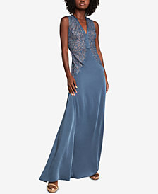 BCBGMAXAZRIA Lace-Embroidered Satin Gown