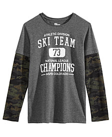Epic Threads Big Boys Ski Team Graphic Layered-Look Shirt, Created for Macy's