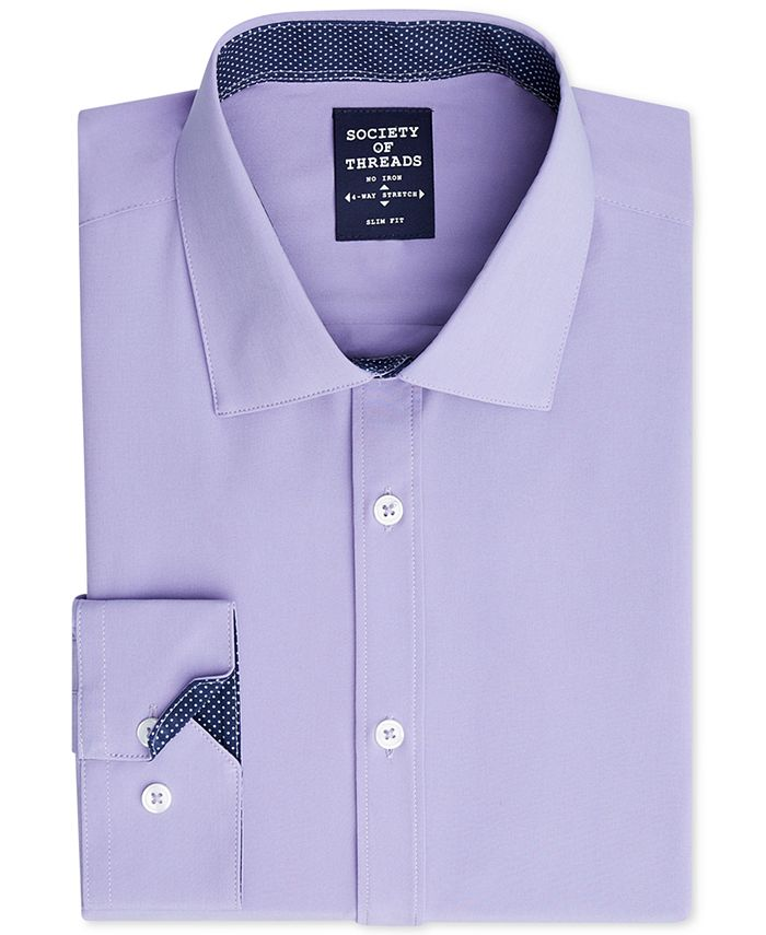 Society of Threads - Men's Slim-Fit 4-Way Stretch Solid Dress Shirt