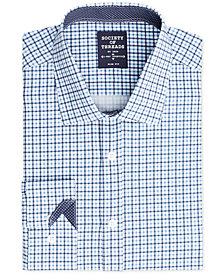 Society of Threads Men's Slim-Fit 4-Way Stretch  Small Check Dress Shirt