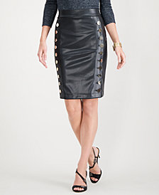I.N.C. Faux-Leather Button Pencil Skirt, Created for Macy's