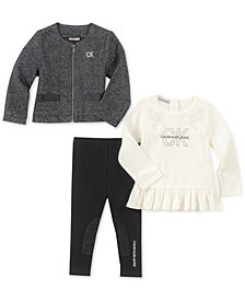 Calvin Klein 3-Pc. Marled Jacket, Peplum Top & Leggings Set