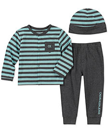 Calvin Klein Baby Boys 3-Pc. Striped Hat, Cardigan & Pants Set