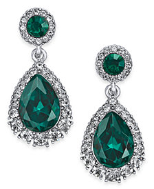 Charter Club Silver-Tone Crystal & Stone Drop Earrings, Created for Macy's
