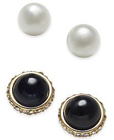 Charter Club Gold-Tone 2-Pc. Set Pavé & Imitation Pearl Stud Earrings, Created for Macy's