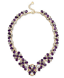 "Charter Club Gold-Tone Amethyst Crystal Statement Necklace, 17-1/2"" + 2"" extender, Created for Macy's"