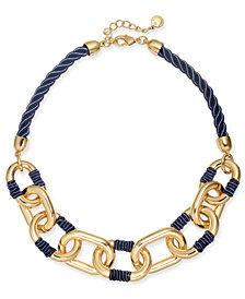 "Charter Club Gold-Tone Link Braided Cord Collar Necklace, 17"" + 2"" extender, Created for Macy's"