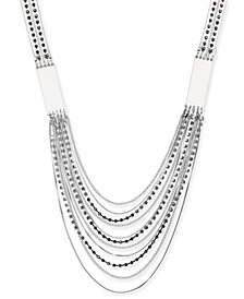 "Thalia Sodi Silver-Tone Multi-Stone Layered 25-1/2"" Statement Necklace, Created for Macy's"