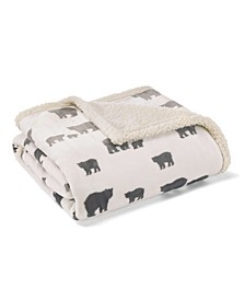 Bear Village Printed Sherpa Throw