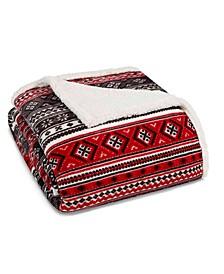Classic Fair Isle Black Sherpa Full/Queen Blanket