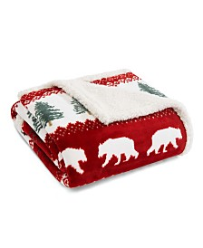 Eddie Bauer Grizzly Peak Red Ultra Plush Fleece Sherpa Throw