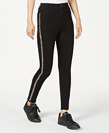 Tinseltown Juniors' Glitter-Striped Skinny Jeans