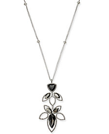 "I.N.C. Silver-Tone Black Crystal Open Work Pendant Necklace, 28"" + 3"" extender, Created for Macy's"