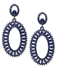 I.N.C. Jet-Tone & Blue Crystal Circle Drop Earrings, Created for Macy's