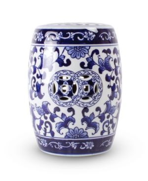 Image of Blue Floral Mini Garden Stool
