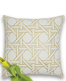 Cane Embroidered 100% Cotton Throw Pillow