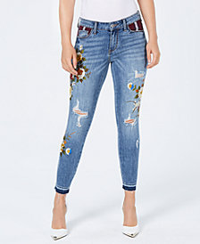 GUESS Embroidered Plaid-Pocket Distressed Skinny Jeans