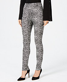 I.N.C. Snake-Embossed Skinny Pants, Created for Macy's