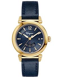 Ferragamo Men's Swiss Feroni Blue Leather Strap Watch 40mm
