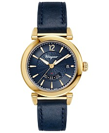 Ferragamo Men's Swiss Feroni Blue Leather Strap Watch 40mm