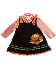 Rare Editions Baby Girls 2-Pc. Striped Bodysuit & Turkey Jumper Set