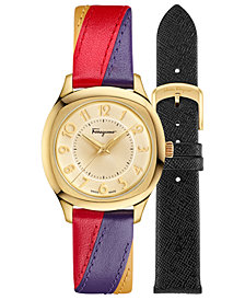 Ferragamo Women's Time Multicolored Patchwork Leather Strap Watch 36x36mm with Interchangable Strap