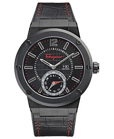 Ferragamo Men's Swiss F-80 Black Leather on Caoutchouc Strap Smart Watch 44mm FAZ020016