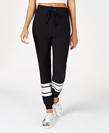 Material Girl Juniors' Striped Jogger Pants, Created for Macy's