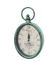 Stratton Home Decor Antique Teal Oval Clock