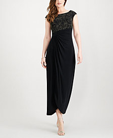Connected Petite Embellished Ruched Dress