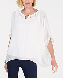 JM Collection Embellished Keyhole Poncho Top, Created for Macy's