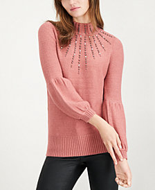 Alfani Studded Turtleneck Sweater, Created for Macy's