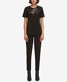 DKNY Sequin-Embellished Crew-Neck T-Shirt