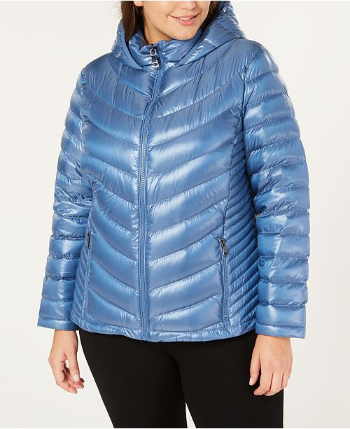 Calvin Klein Plus Size Hooded Packable Down Coat