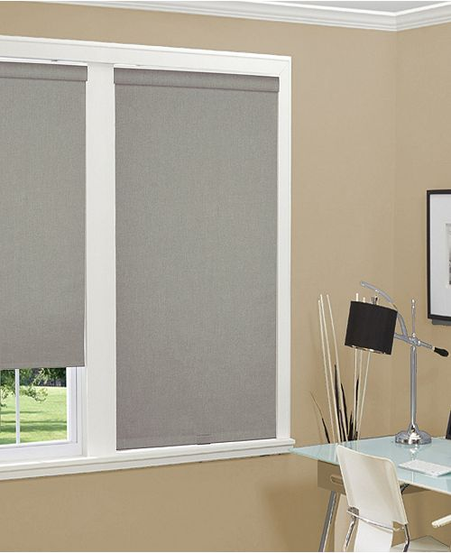 "US Shade & Shutter Cordless Linen Look Thermal Fabric Roller Shade, 43""x66"""