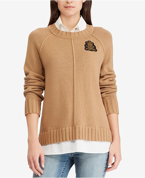 8a983a856 Lauren Ralph Lauren Bullion Patch Layered-Look Shirt   Reviews ...