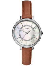 Fossil Women's Jocelyn Brown Leather Strap Watch 36mm
