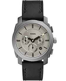 Fossil Men's Chronograph Machine Black Leather Strap Watch 42mm