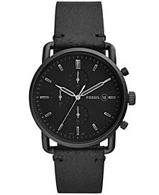 Men's Chronograph Commuter Black Leather Strap Watch 42mm