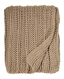 Gold Rib Knit Rib Beaded Throw