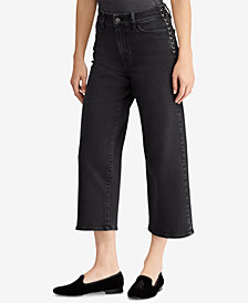Lauren Ralph Lauren Lace-Up Cropped Flared Jeans