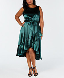 Taylor Plus Size Belted Ruffle A-Line Dress