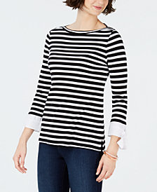 Charter Club Petite Cotton Striped Tie-Sleeve Top, Created for Macy's