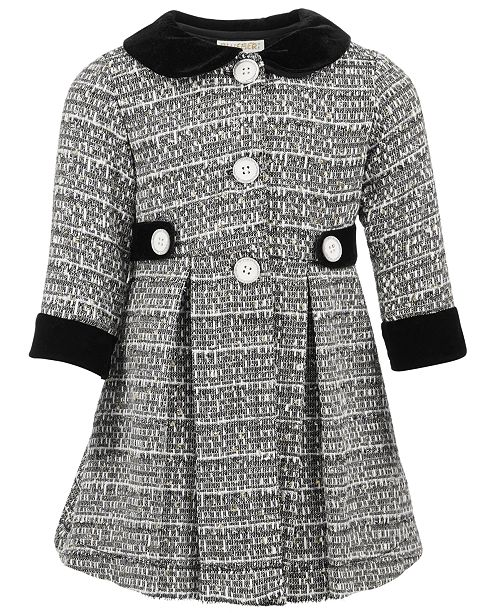 7e4f63e18871 Blueberi Boulevard Baby Girls 2-Pc. Tweed Coat & Party Dress ...