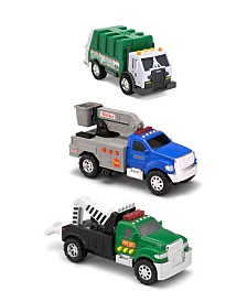 Funrise Toys - Tonka Mini 3 Pack, Cherry Picker, Tow Truck, Garbage Truck