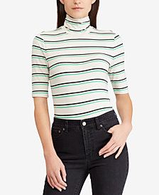 Ralph Lauren Petite Striped Turtleneck Sweater