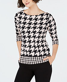 Charter Club Houndstooth 3/4-Sleeve Top, Created for Macy's