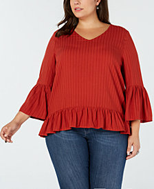 Eyeshadow Trendy Plus Size Ruffled Top