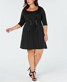 Love Squared Trendy Plus Size Corset-Front Dress