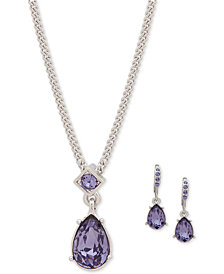 Givenchy 2 Pc Set Stone Crystal Pendant Necklace Matching Drop Earrings